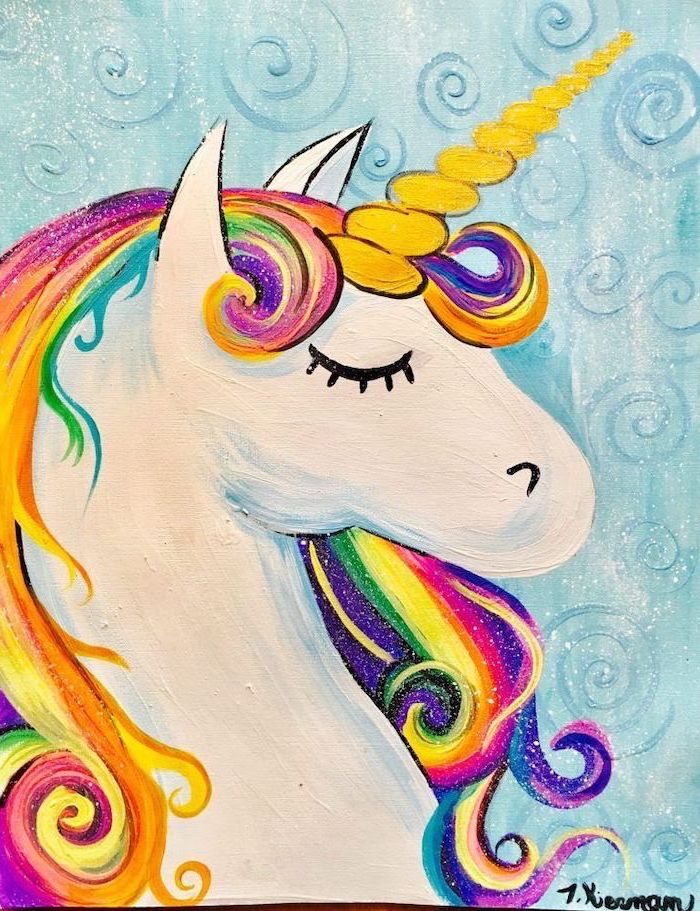 painting of a unicorn head with rainbow colored mane, how to draw a cute unicorn, painted on blue background