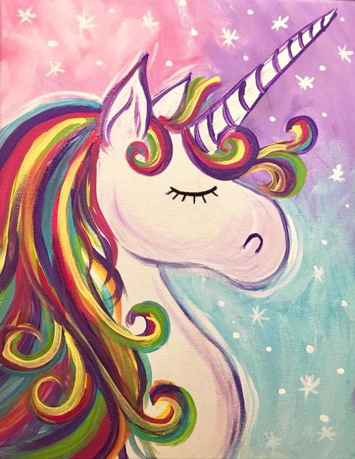 painting of a unicorn with rainbow colored mane, how do you draw a unicorn, purple pink and turquoise background with stars