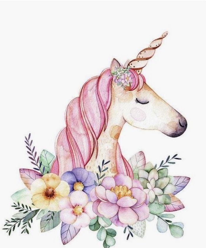 watercolor painting of unicorn head, surrounded by colorful flowers, how to draw a unicorn girl, painted on white background