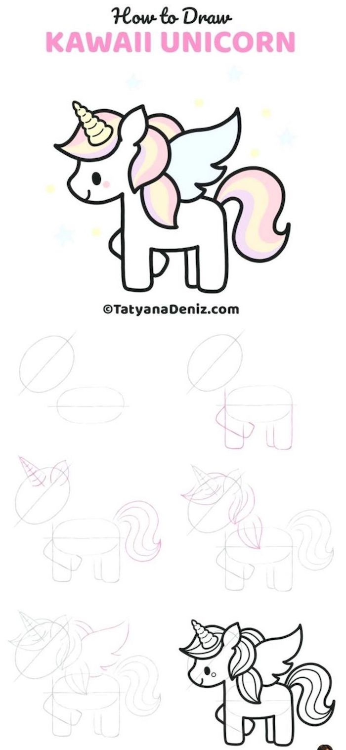 how to draw kawaii unicorn, step by step diy tutorial, how to draw a unicorn girl, six step drawing tutorial