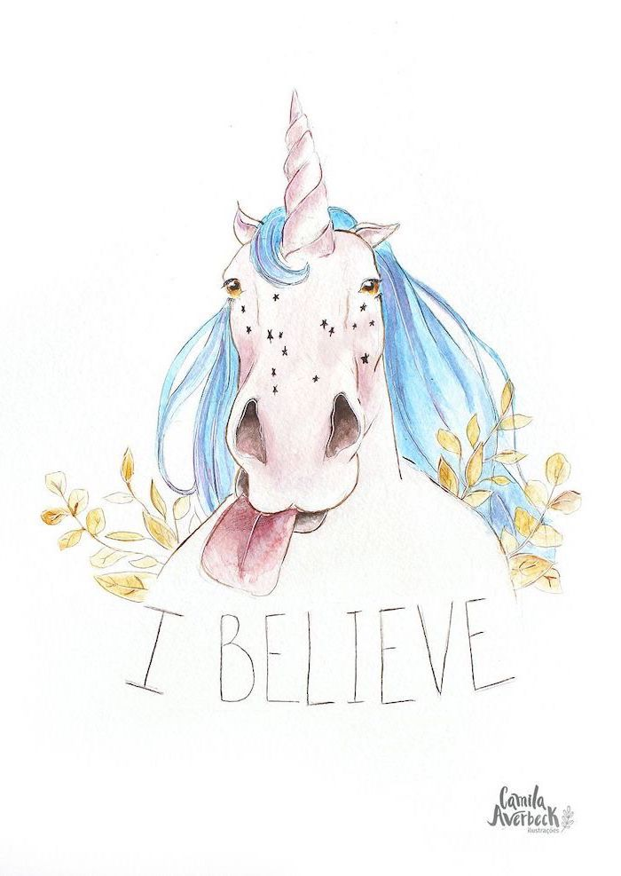 pencil drawing of a unicorn sticking its tongue out, blue mane, i believe written underneath, unicorn drawing easy