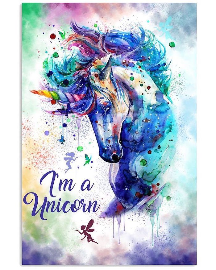 watercolor painting of a unicorn head, rainbow colors used, how to draw a unicorn girl, i'm a unicorn written underneath
