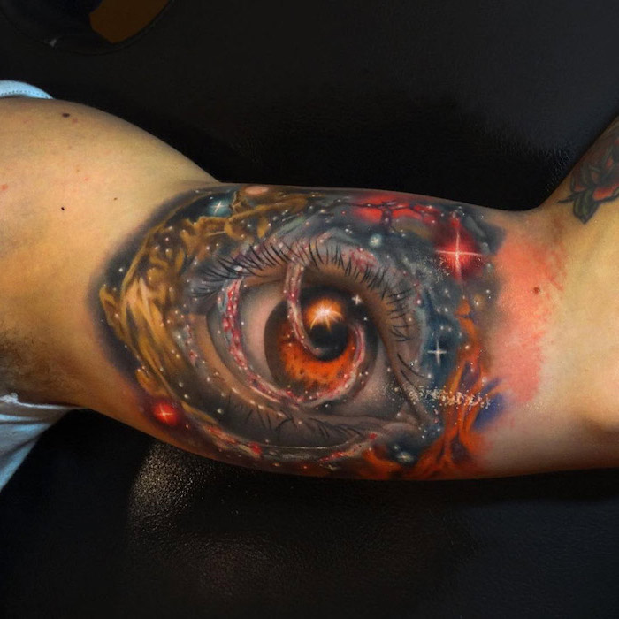 eye in the middle of space, surrounded by stars in different colors, space tattoo ideas, inside arm tattoo