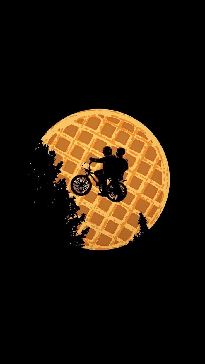 et inspired poster, mike and eleven on his bike, stranger things iphone wallpaper, eggos waffle on black background