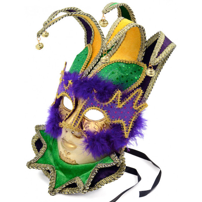 jester mask in gold purple and green, decorated with purple feathers, male masquerade masks, bells at the end