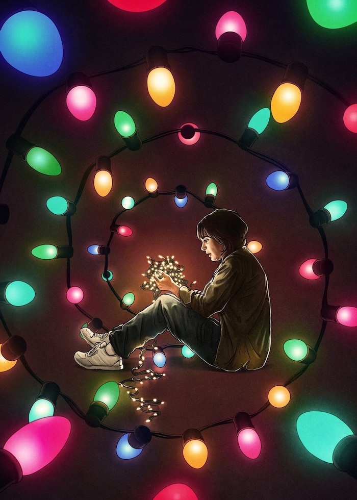 cartoon image of joyce byers, holding tangled fairy lights, stranger things background, colorful lights around her