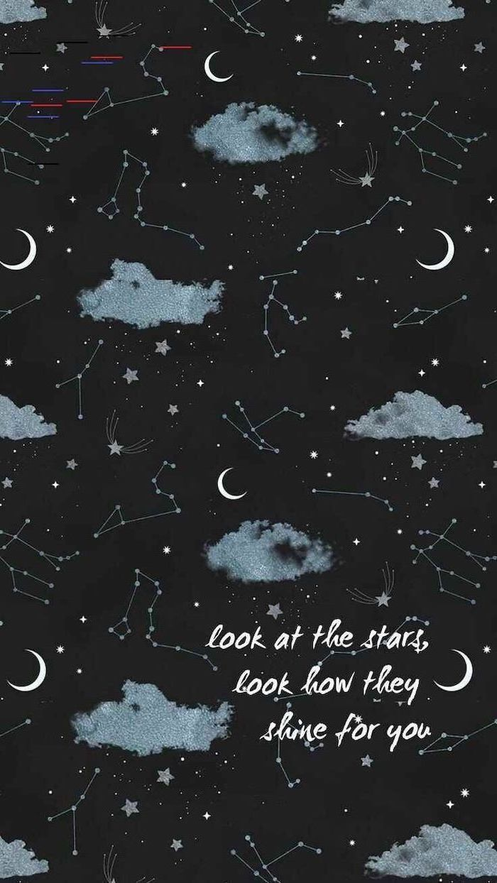 look at the stars, look how they shine for you, written in white over a cartoon galaxy, universe wallpaper, clouds moons and constellations
