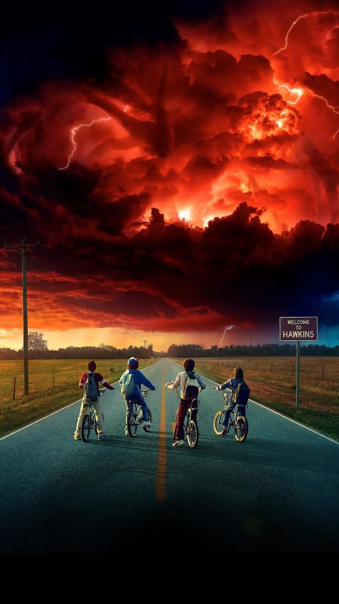 lucas dustin mike and will on their bikes, standing in the middle of the road, stranger things background, the mind flayer in the sky