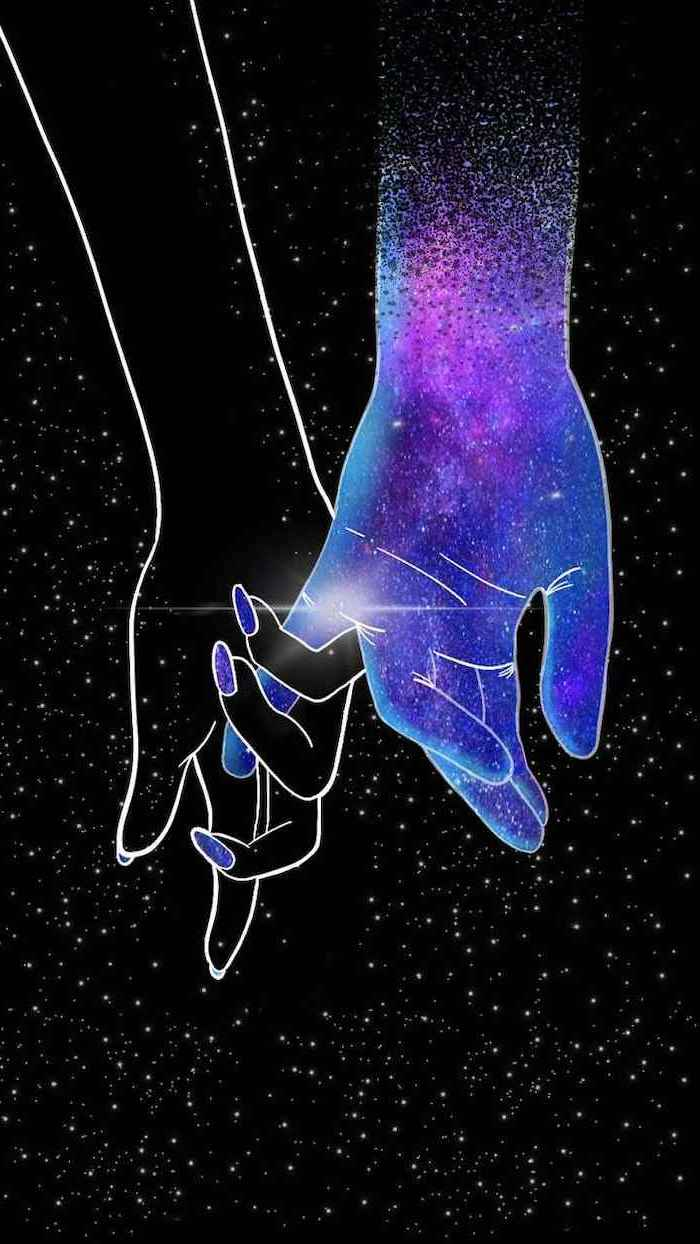 silhouettes of man and womans hands, universe wallpaper, black background filled with white stars