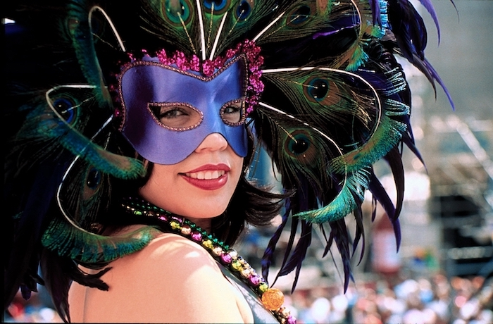 purple mask decorated with pink rhinestones, male masquerade masks, large and long dark purple and green peacock feathers