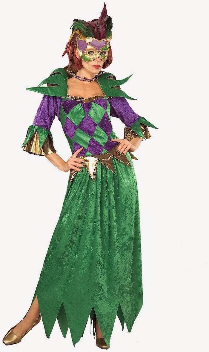 woman wearing velvet green and purple dress, gold shows and sleeves, masquerade decorations, mask with feathers