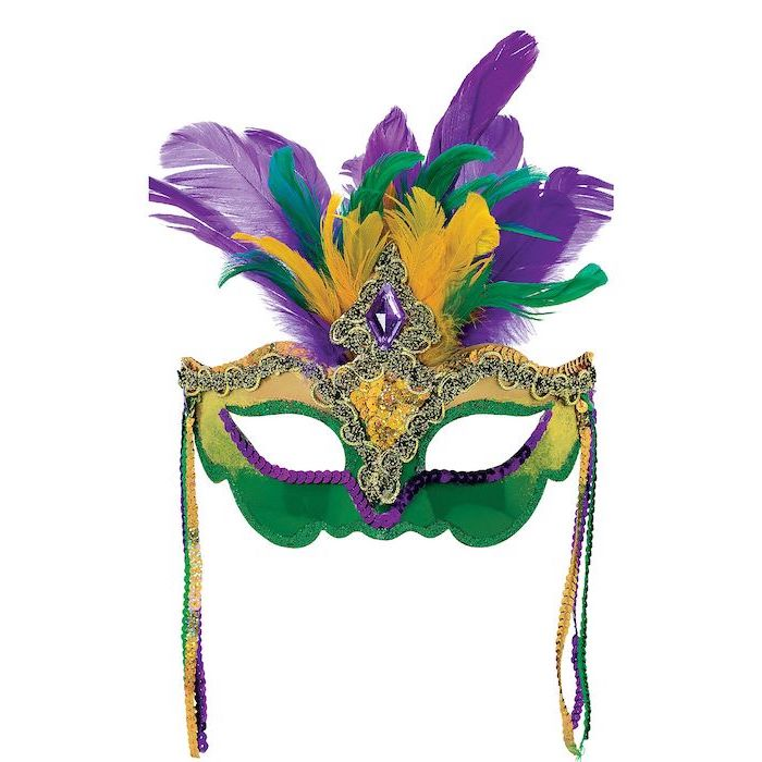 gold and green mask, purple sequins decorations, purple green and gold feathers, masquerade party masks
