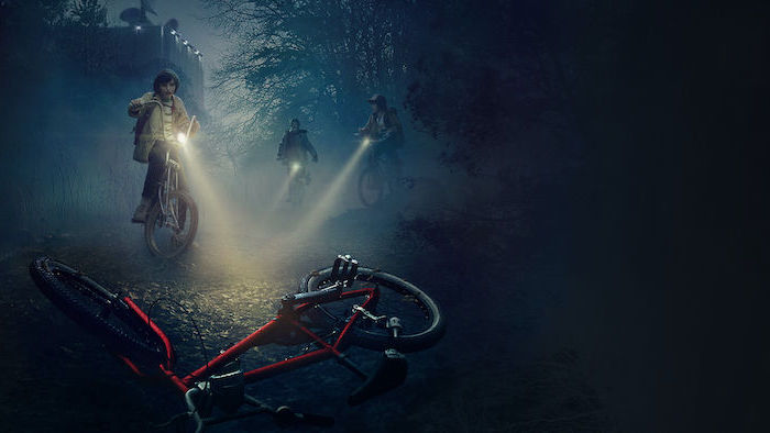 mike dustin and lucas on their bikes, looking at will's bike, stranger things desktop wallpaper, dark aesthetic