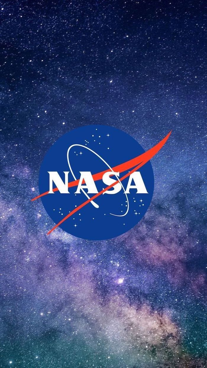 nasa logo in the middle, galaxy in the background in blue purple and turquoise, galaxy wallpaper 4k, sky filled with stars