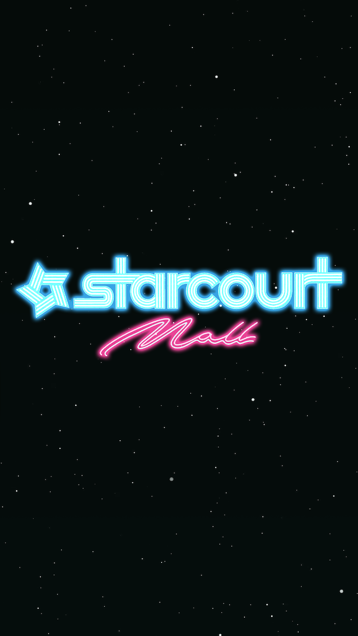 starcourt mall sign, written in blue and pink neon, stranger things iphone wallpaper, black background with white dots