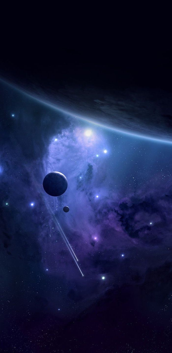 planets in outer space, shooting stars and regular stars, galaxy wallpaper 4k, dark aesthetic in blue and purple