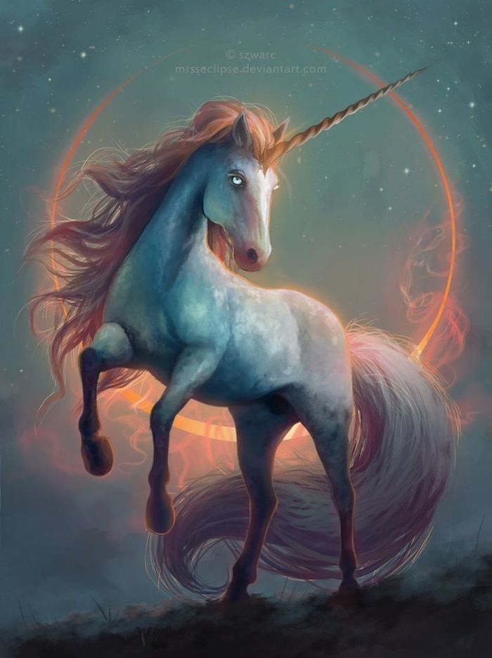 painting of a white unicorn, unicorn pictures to draw, long mane and horn, dark aesthetic background