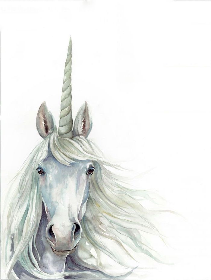 watercolor painting of a white unicorn head, unicorn pictures to draw, painted on white background