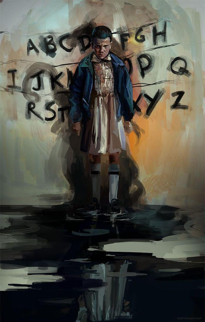 stranger things background, painting of eleven, standing in front of the alphabet wall, made by joyce byers