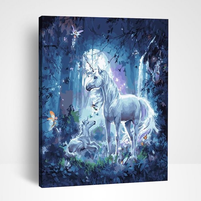 painting of mom and baby white unicorns, unicorn pictures to draw, standing in a forest, hanged on white background