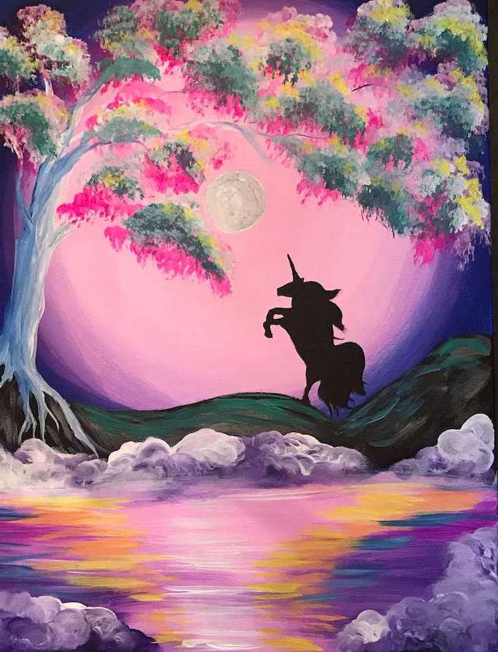 painting of unicorn silhouette, pink and purple sunset sky background, standing next to lake, unicorn pictures to draw