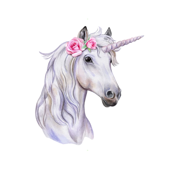 painting of a white unicorn head, how to draw a unicorn emoji, two pink roses on the side, painted on white background