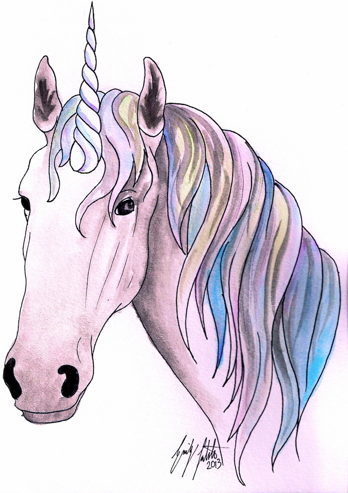 drawing of pink unicorn, rainbow colored mane, how to draw a unicorn emoji, painted on white background