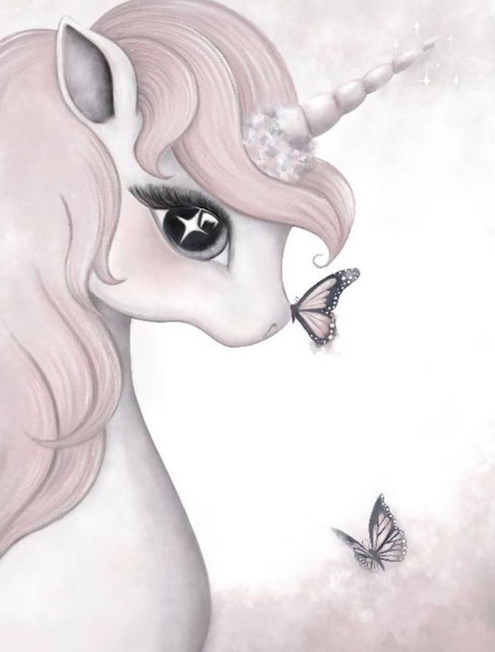 pencil drawing of a unicorn with pink mane, how to draw a unicorn emoji, butterflies drawn around it