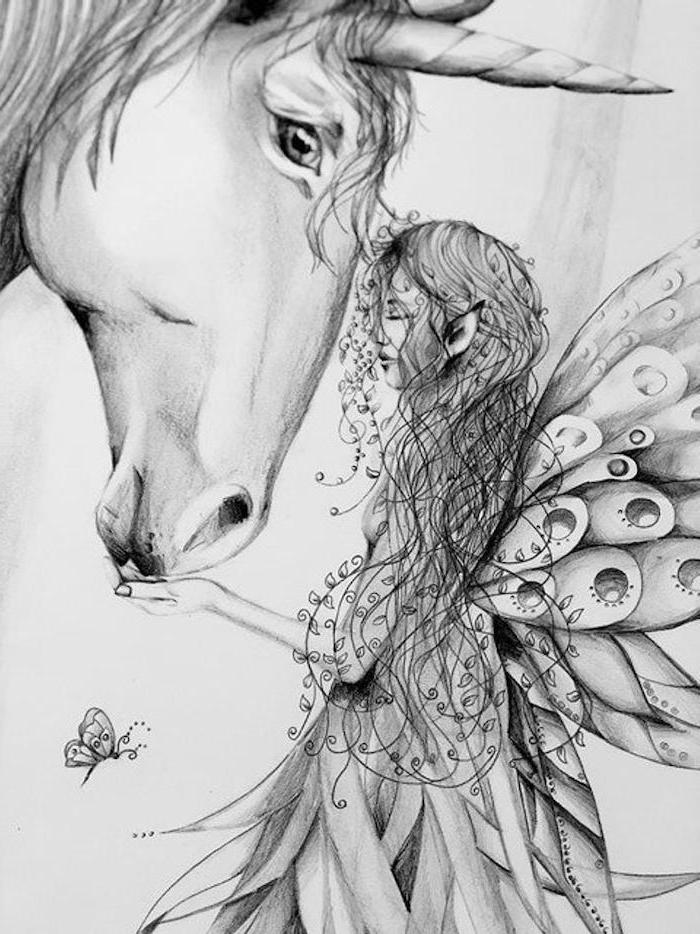 black and white pencil sketch, female elf hugging a unicorn, how to draw a unicorn emoji, drawn on white background