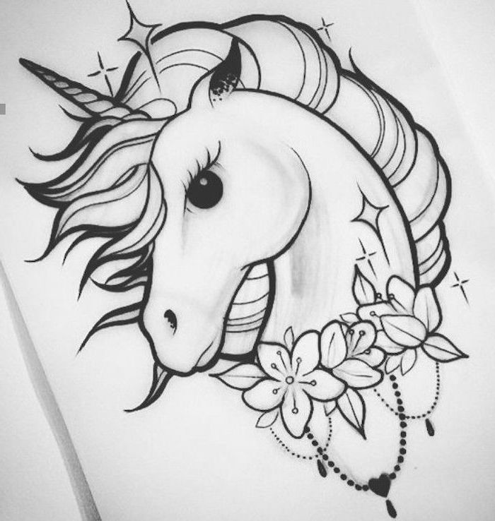 black and white pencil sketch, how to draw a unicorn head, surrounded by flowers, drawn on white background
