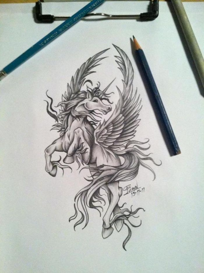 how to draw a unicorn head, black and white pencil sketch of unicorn with wings, drawn on white background