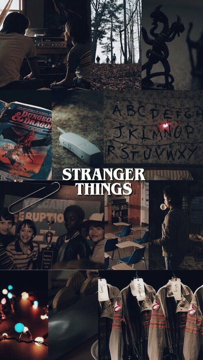 photo collage of scenes from the show, stranger things iphone wallpaper, title logo written in white