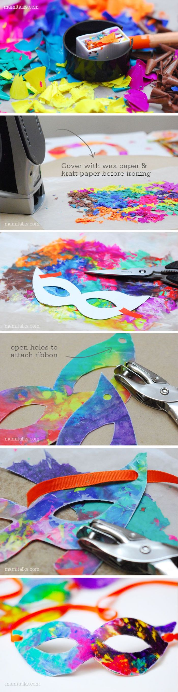 photo collage of step by step diy tutorial, masquerade masks for men, colorful masks made with crayons
