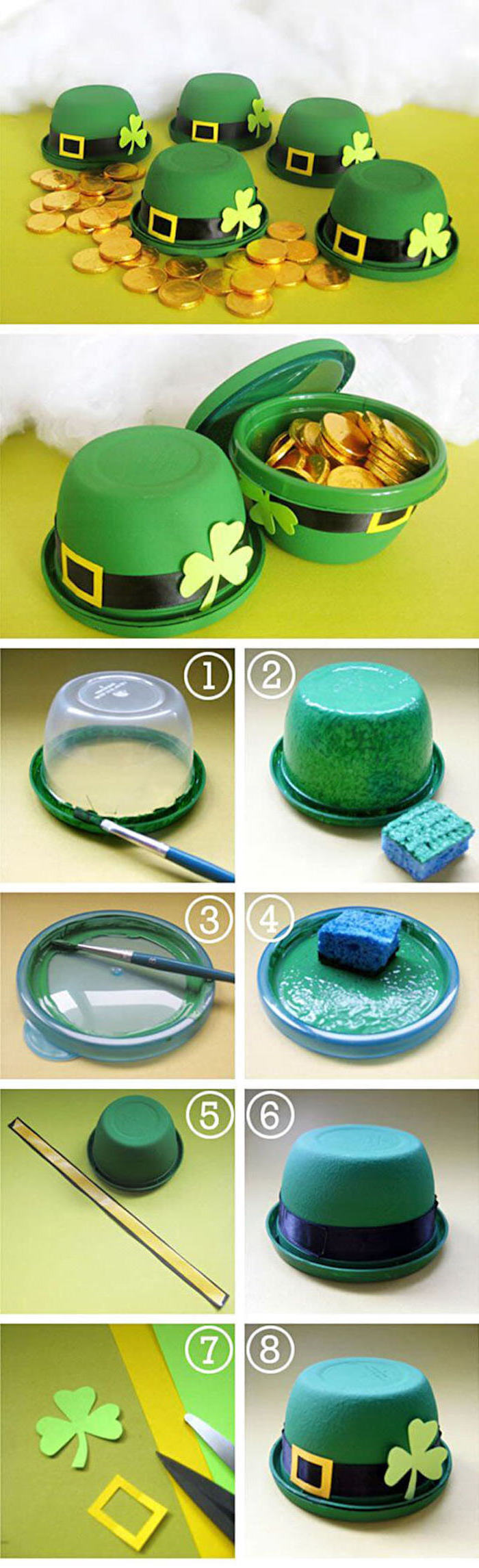 photo collage of step by step diy tutorial, st patrick's day party ideas, pot of gold made of plastic container