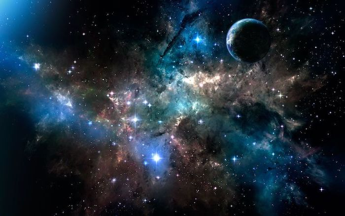 samsung galaxy wallpaper, sky filled with stars, planet earth in space, galaxy in dark black blue and orange colors