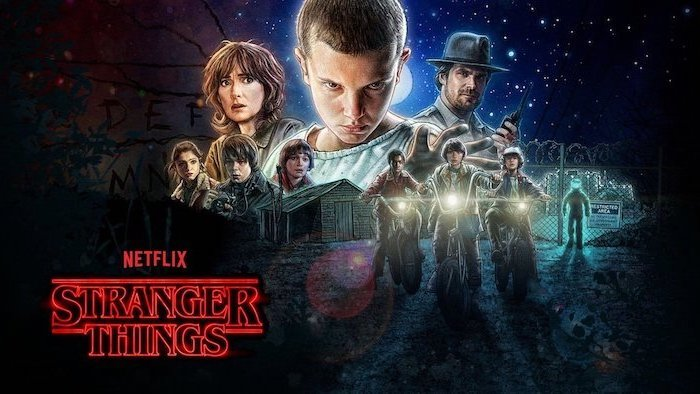 stranger things wallpaper iphone x, season 1 poster, all the characters in the middle, title logo written in red neon