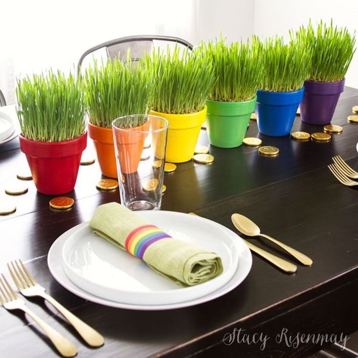 pots painted in the colors of the rainbow, placed in the middle of the table, st patrick's day party ideas, gold coins around them