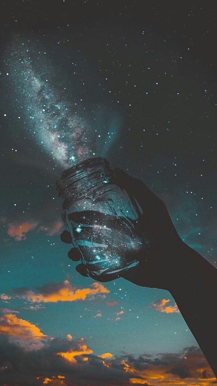 galaxy wallpaper 4k, hand holding a mason jar, galaxy coming out of it, sky filled with stars, dark black sky