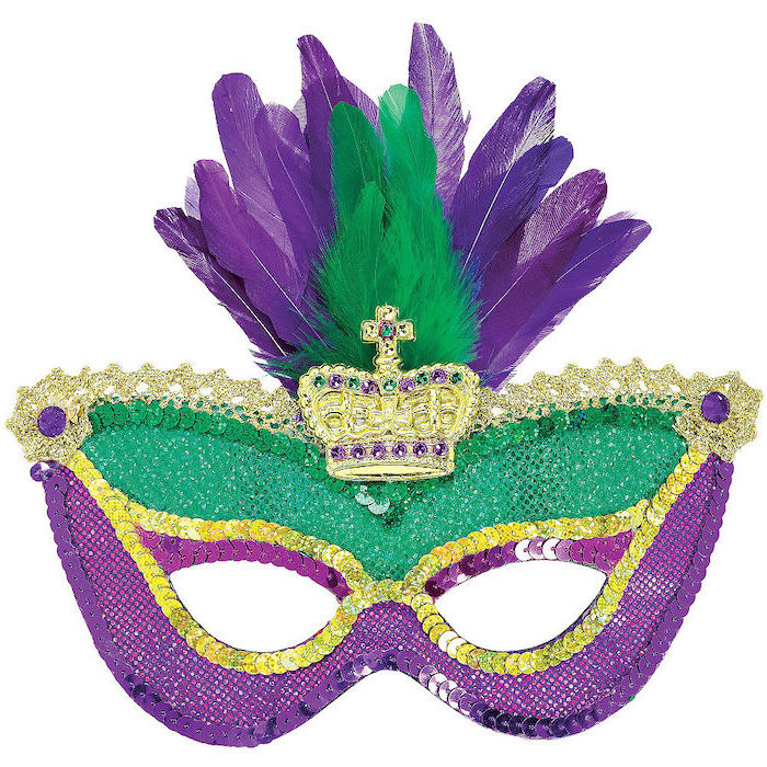 what to wear to mardi gras, mask decorated with green and purple glitter, gold sequins and crown, purple and green feathers