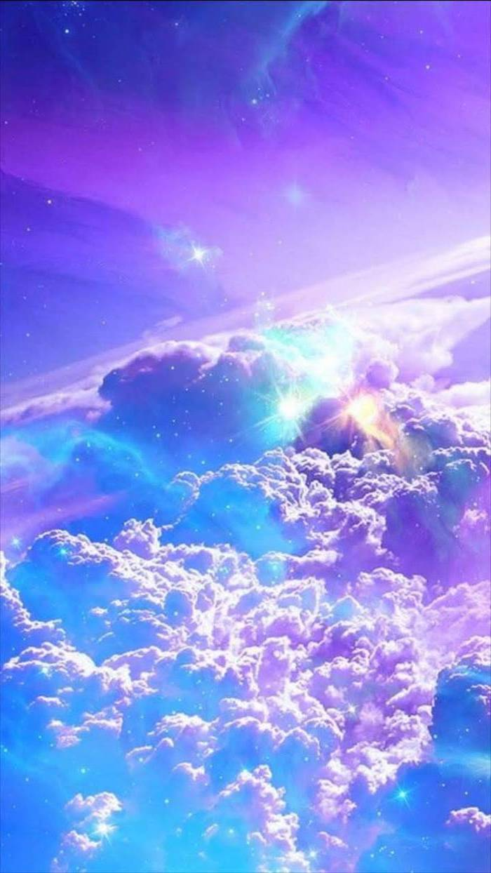 galaxy wallpaper 4k, above the clouds, stars in the sky, sky in purple and blue, turquoise and pink