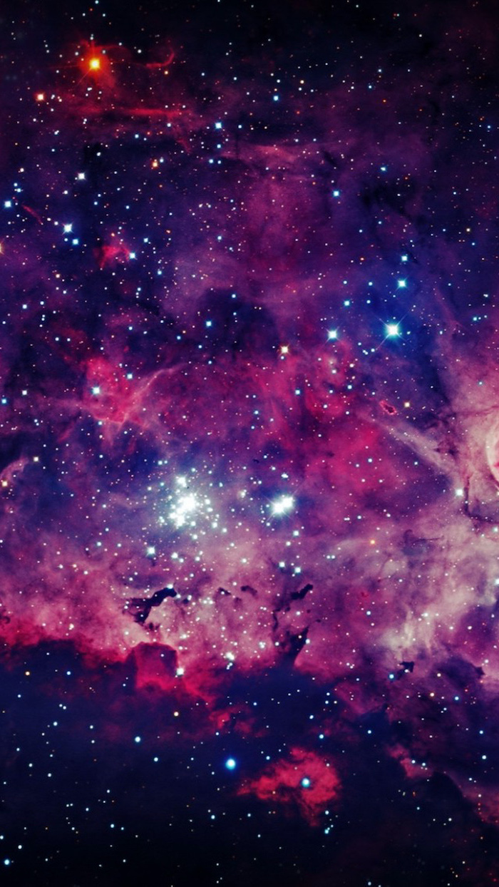 outer space wallpaper, galaxy in purple black red and orange, sky filled with stars