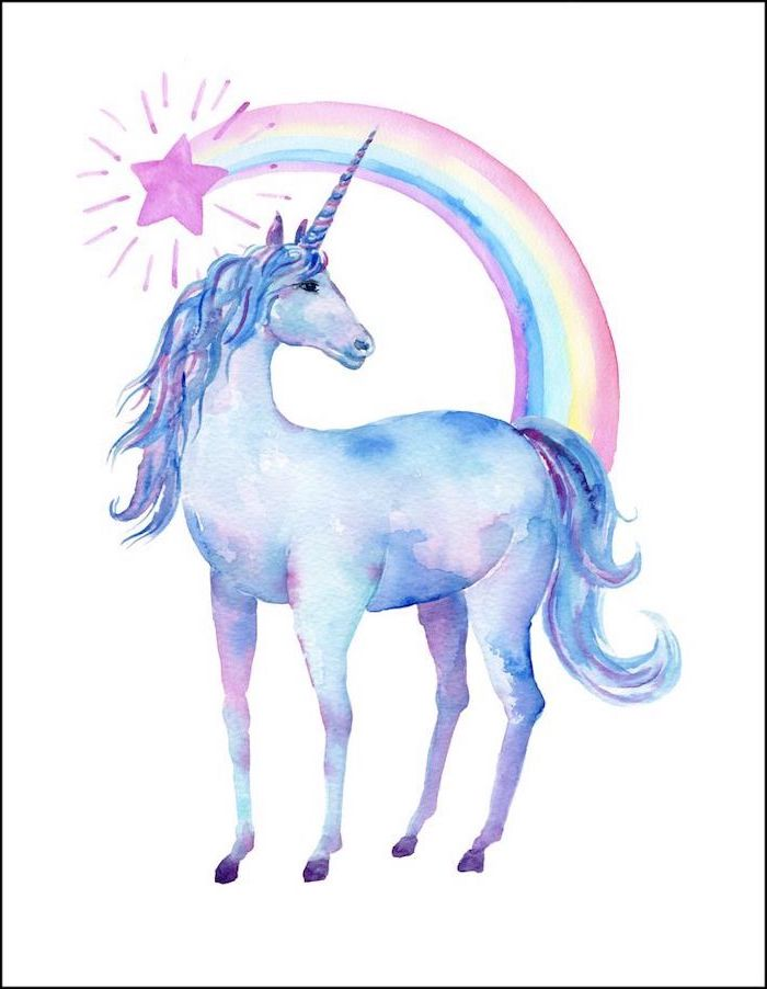watercolor painting of a unicorn, rainbow above it with pink star, painted on white background, how to draw a unicorn head