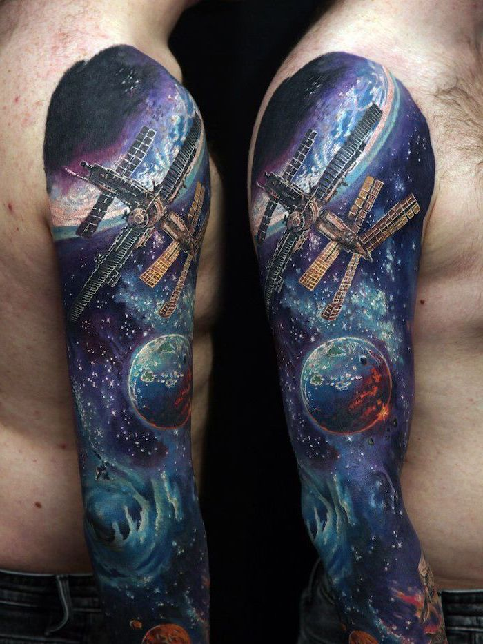 side by side photos of whole sleeve tattoo, milky way tattoo, satellites planets and stars, black purple and blue colors
