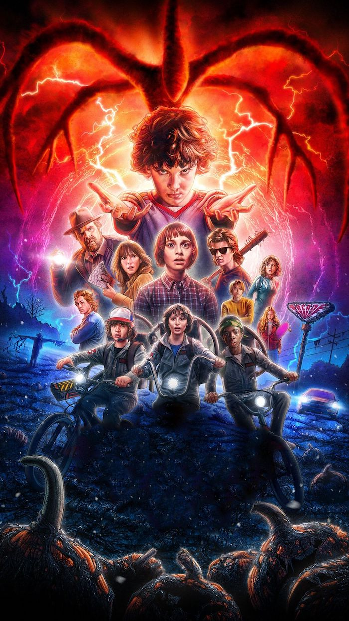 season 2 poster, the characters in the middle, mind flayer above them, aesthetic stranger things wallpaper