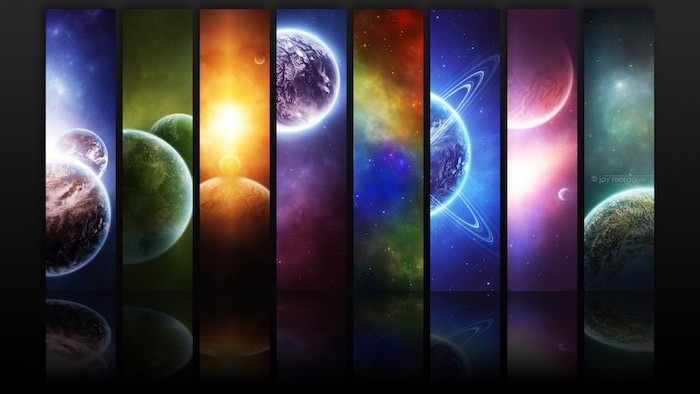 side by side cartoon images of planets, samsung galaxy wallpaper, forming one large wallpaper