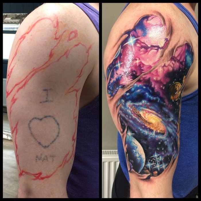 side by side photos of before and after, milky way galaxy with stars and planets, galaxy tattoo ideas