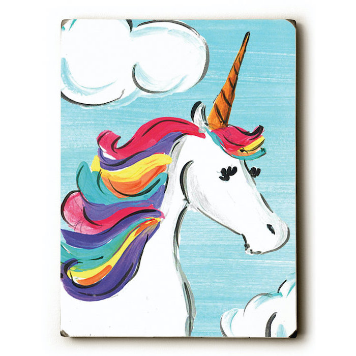 painting of a unicorn with rainbow colored mane, how to draw a unicorn head, painted on blue background with clouds