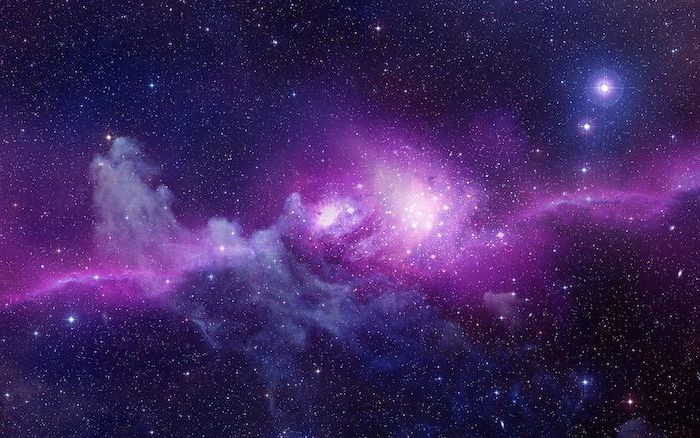 purple galaxy background, sky filled with stars, galaxy in pink and purple