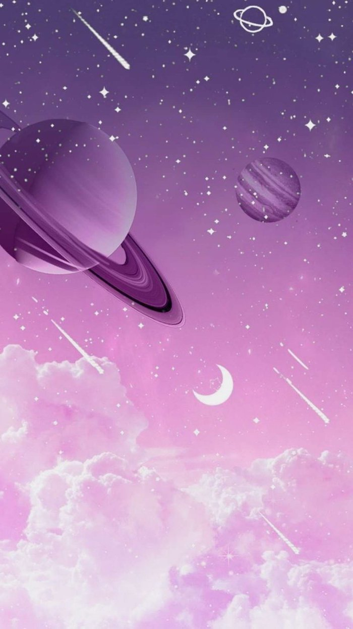 cartoon image of planets and shooting stars, outer space wallpaper, purple and pink background