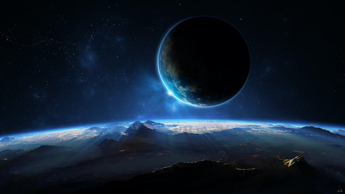 planet landscape, sun rising behind earth, space wallpaper 4k, dark aesthetic in black and blue
